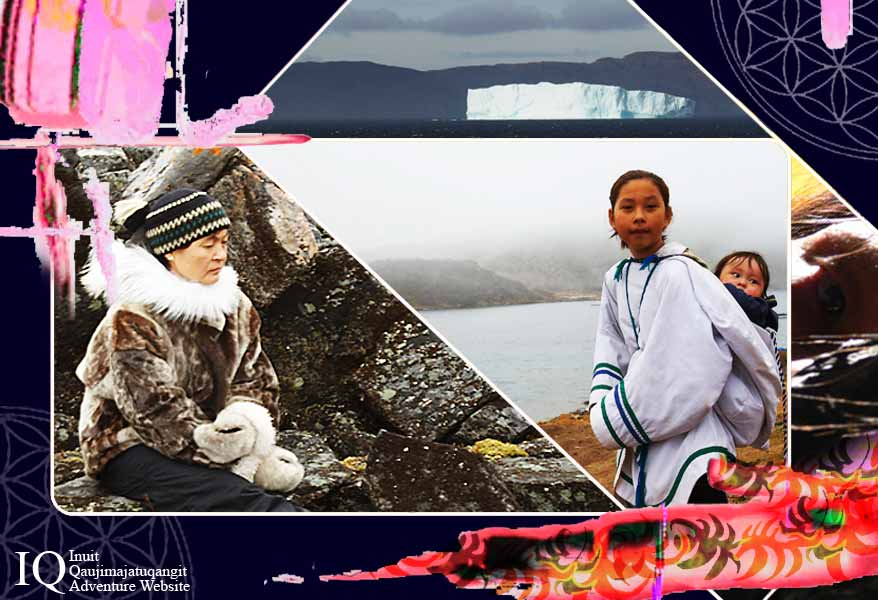 A collage of images from Nunavut. Iceberg, elder, youth and baby, portion of an image from the movie Kiviuq.